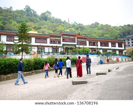 GANGTOK, SIKKIM/ INDIA-APRIL 7: Indian and foreigner tourists visit Ranka  Monastery on April 7, 2013 in Gangtok. This is a place worth visiting for exquisite architecture and serene atmosphere. - stock photo