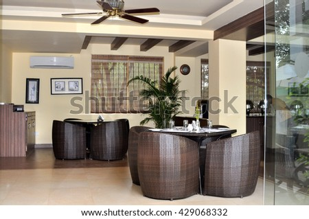 GAO,INDIA - OCTOBER 26,2011:the interior of the restaurant in the hotel on Anjuna beach.North Goa