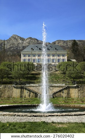 GAP, FRANCE - APRIL 14, 2015:The Chateau de Charance,which was built in the 16th century, is the headquarters of the Ã?crins National Park, and the Alpine National Botanical Conservatory - stock photo