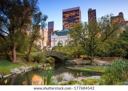 Gapstow bridge at twilight, Central Park New York City - stock photo