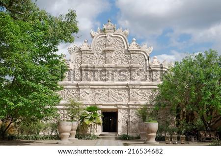 gapura agung - the main gate at taman sari water castle - the royal garden of sultanate of jogjakatra - stock photo