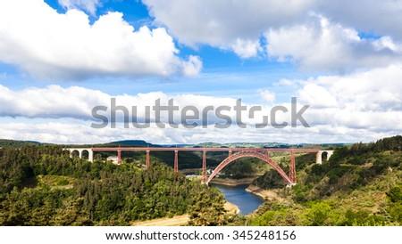 Garabit Viaduct, Cantal Department, Auvergne, France - stock photo