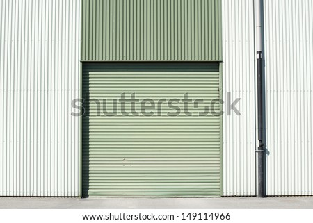 Garage door at a huge building - stock photo