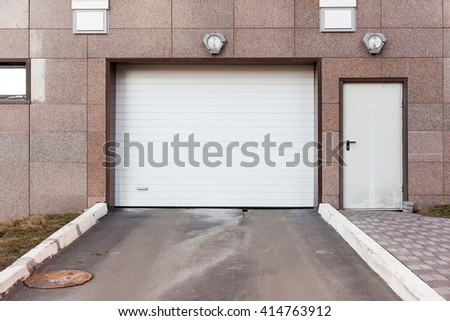 Garage door at a modern building - stock photo