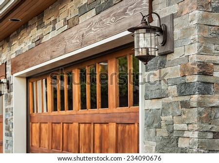 Garage Door Detail Of Luxury Home Exterior
