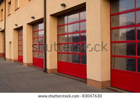Garage door fire department 2 - stock photo