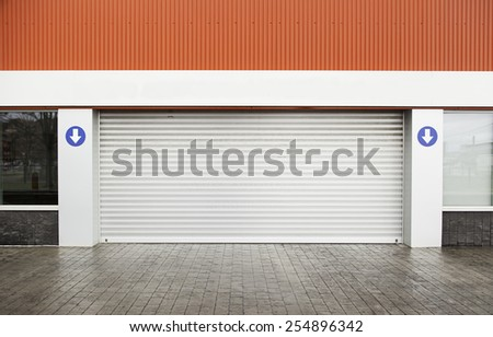 Garage door on the street, detail of a metal closed - stock photo