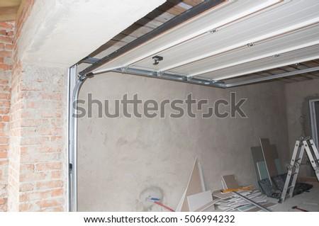 Garage Door Opener System Garage Door Stock Photo 506994232