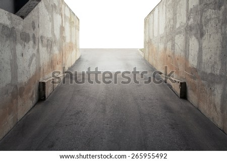 Garage entrance, concrete walls surrounding  - stock photo