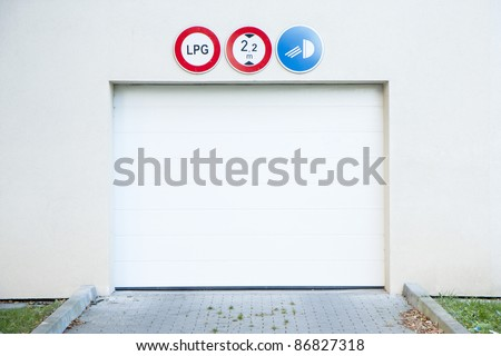 Garage gate to an underground car park - stock photo