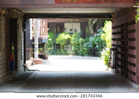 Garage in asia building house - stock photo