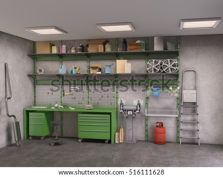 garage interior. Garage Interior; 3d Illustration Interior T