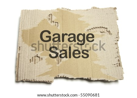 Garage Sales Sign on White Background - stock photo