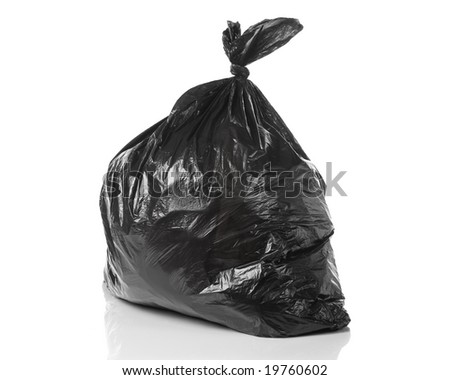 garbage bag isolated on a white background with a smooth reflection - stock photo