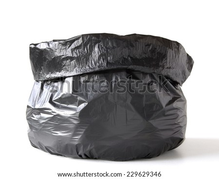 Garbage bag isolated on white - stock photo