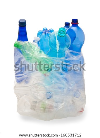 garbage bag with plastic bottles - stock photo