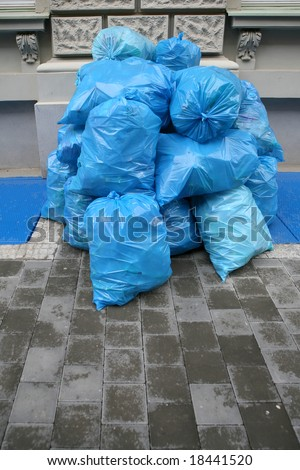 Garbage bags in the city street