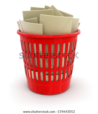 garbage basket and letters (clipping path included) - stock photo
