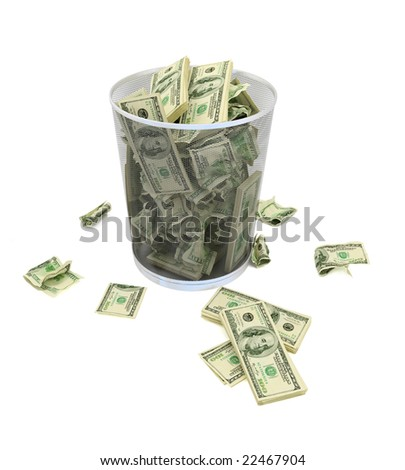 Garbage basket of complete money on a white background - stock photo