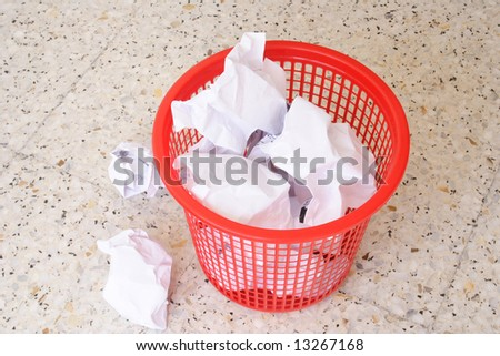 Garbage basket with some mesh around - stock photo