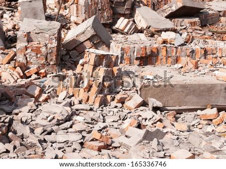 Garbage bricks heap - stock photo