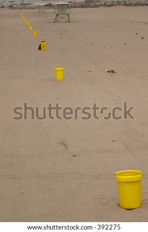 Garbage Can Beach - stock photo