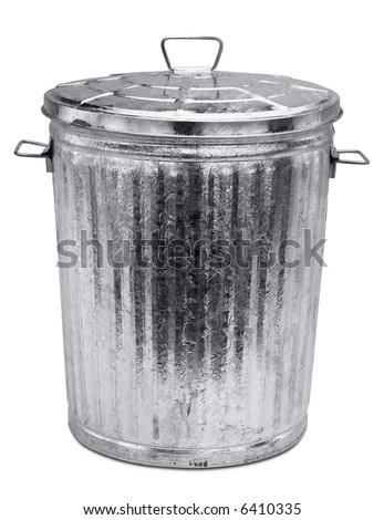 Garbage Can - isolated on white - stock photo