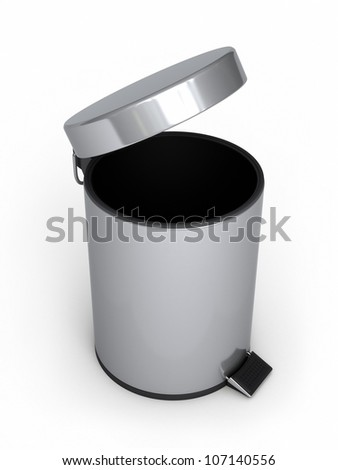 Garbage Can (isolated on white and clipping path) - stock photo