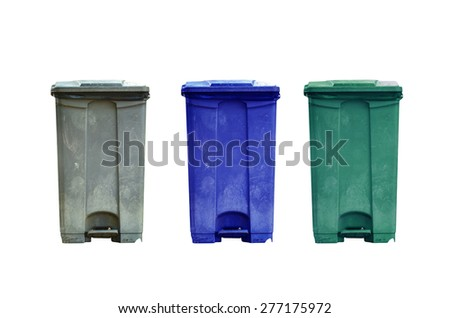 Garbage can on white background - stock photo
