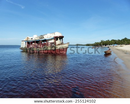Garbage collection on the beach Praia da Lua Rio Negro near Manaus by boat, Amazonas, Brazil - stock photo