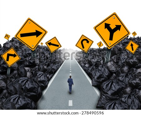 Garbage direction concept and environmental symbol as a person walking on a straight road with signs cutting through a background with garbage bags as a metaphor for global waste management. - stock photo