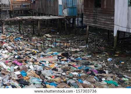 garbage in the village - stock photo