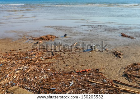 Garbage on the beach. Pollution on the coast - stock photo