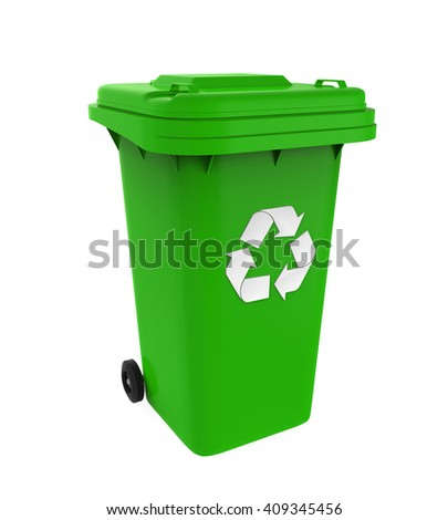 Garbage Trash Bin with Recycle Symbol isolated on white background. 3D render - stock photo