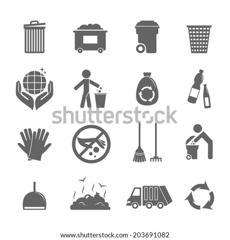 Garbage trash recycling environmental hygienic symbols black icons set isolated  illustration - stock photo