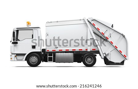 Garbage Truck Isolated - stock photo