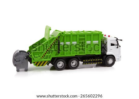 Garbage truck toy isolated on a white background - stock photo