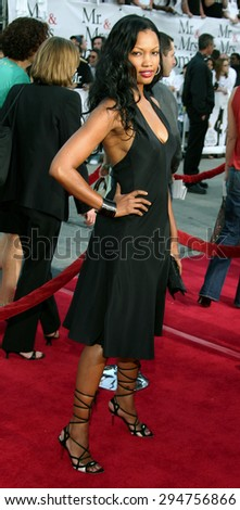 """Garcelle Beauvais attends the Los Angeles Premiere of """"Mr. & Mrs. Smith"""" held at the Mann's Village Theater in Westwood, California on June 7, 2005.   - stock photo"""