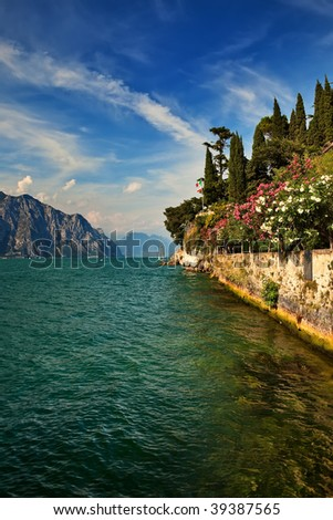 Garda Lake view from Malcesine to north. - stock photo