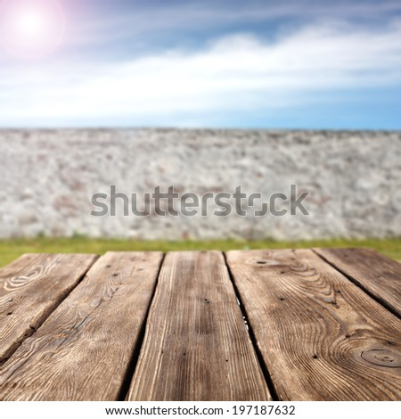 garden and wall with sky  - stock photo