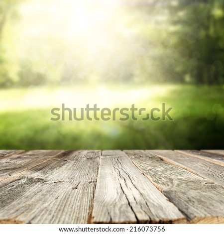 garden and wooden table  - stock photo