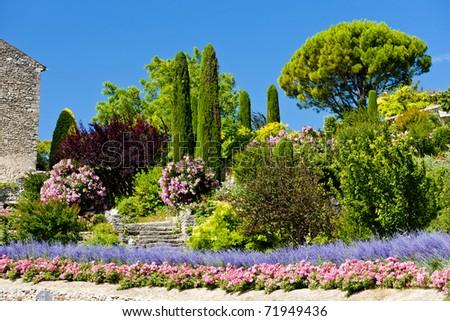 garden at Gordes, Provence, France - stock photo