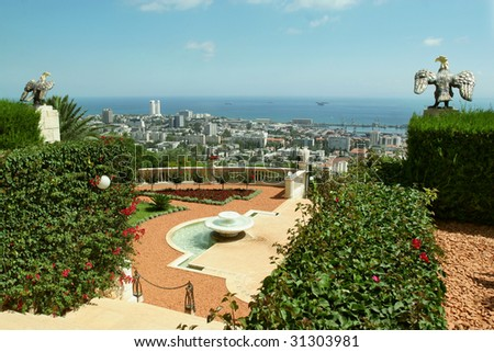 Garden Bahai and view to sea and city Haifa. Israel. - stock photo