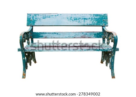 Garden bench isolated on white background with clipping path - stock photo