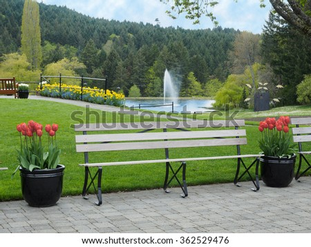 Garden bench with fountain in the background in the spring