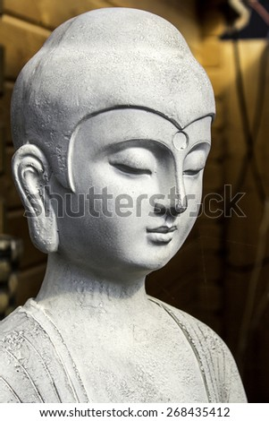Garden buddha Statue detail background - stock photo