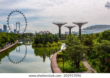 Garden By the Bay, Supertree, Flyer, Singapore - stock photo
