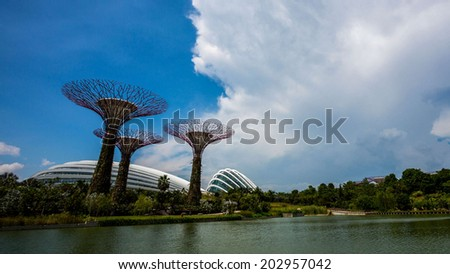 Garden By the Bay, Supertree grove, Singapore - stock photo