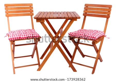 Garden chairs and table isolated on white - stock photo