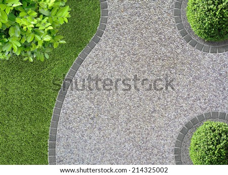 garden design detail with curves seen from above - stock photo